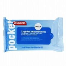 ASSANIS Pocket Lingettes Antibactériennes Aloé vera & Pro-vitamine B5 sans Rinçage 25 unités