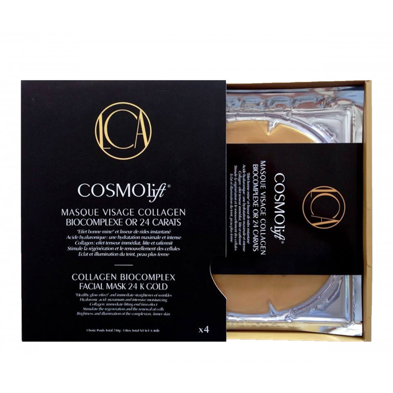 COSMOLIFT MASQUE VISAGE COLLAGEN BIOCOMPLEXE OR 24 CARATS PACK 4 MASQUES