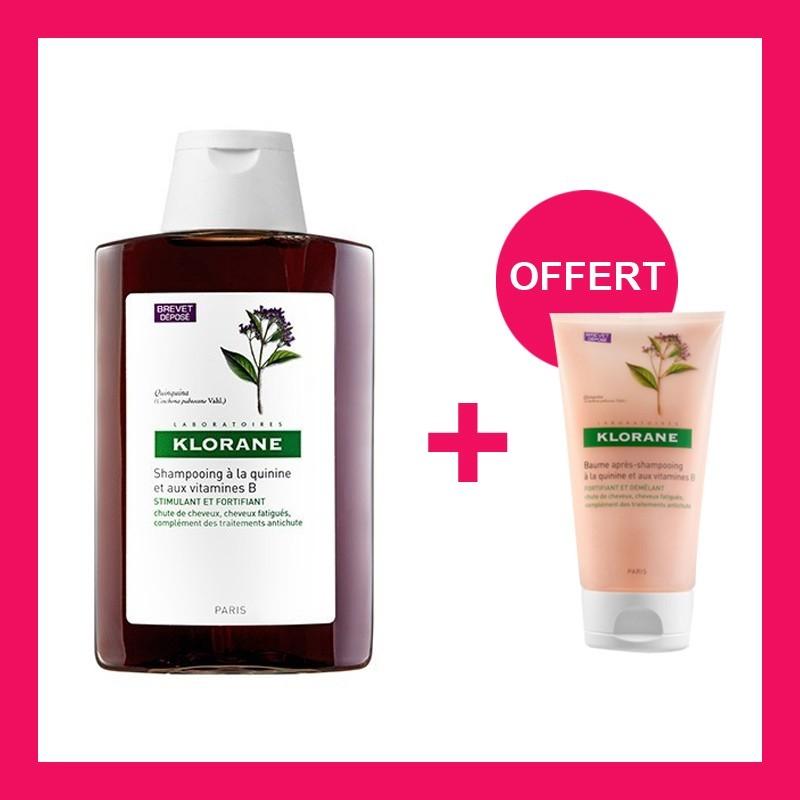 OFFRE KLORANE Shampooing à la Quinine et Vitamine B6 200 Ml avec Baume Apres Shampooing Démêlant à la Quinine OFFERT