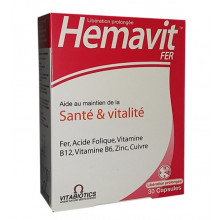 Vitabiotics Hemavit Fer Santé et Vitalité 30 capsules